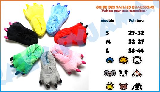 Guide des tailles pour les chaussons